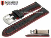 Watch strap Estero 19mm black leather alligator grain red stitching by MEYHOFER (width of buckle 18 mm)