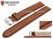 Watch strap XL super long Exeter 20mm light brown leather grained black stitching by MEYHOFER (width of buckle 20 mm)