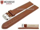 Watch strap XL super long Exeter 18mm light brown leather grained light stitching by MEYHOFER (width of buckle 18 mm)