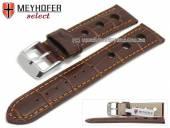 Watch strap Topeka 19mm dark brown alligator grain racing look orange stitching by MEYHOFER (width of buckle 18 mm)