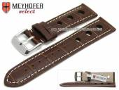 Watch strap Topeka 17mm dark brown alligator grain racing look white stitching by MEYHOFER (width of buckle 16 mm)