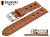Watch strap Topeka 17mm light brown alligator grain racing look brown stitching by MEYHOFER (width of buckle 16 mm)