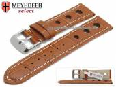 Watch strap Topeka 17mm light brown alligator grain racing look white stitching by MEYHOFER (width of buckle 16 mm)