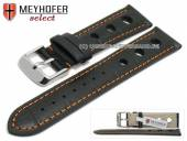 Watch strap Topeka 17mm black alligator grain racing look orange stitching by MEYHOFER (width of buckle 16 mm)