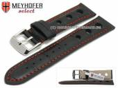 Watch strap Topeka 21mm black alligator grain racing look red stitching by MEYHOFER (width of buckle 20 mm)