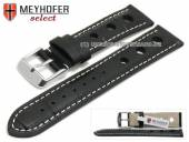 Watch strap Topeka 17mm black alligator grain racing look white stitching by MEYHOFER (width of buckle 16 mm)