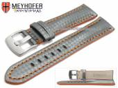 Watch strap Rheinsberg 17mm grey leather sporty carbon look orange stitching by MEYHOFER (width of buckle 16 mm)