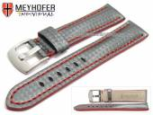 Watch strap Rheinsberg 17mm grey leather sporty carbon look red stitching by MEYHOFER (width of buckle 16 mm)