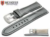 Watch strap Rheinsberg 17mm grey leather sporty carbon look black stitching by MEYHOFER (width of buckle 16 mm)