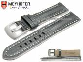 Watch strap Rheinsberg 17mm grey leather sporty carbon look white stitching by MEYHOFER (width of buckle 16 mm)