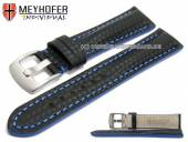 Watch strap Rheinsberg 19mm black leather sporty carbon look blue stitching by MEYHOFER (width of buckle 18 mm)