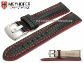 Watch strap Rheinsberg 17mm black leather sporty carbon look red stitching by MEYHOFER (width of buckle 16 mm)