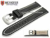 Watch strap Rheinsberg 17mm black leather sporty carbon look white stitching by MEYHOFER (width of buckle 16 mm)