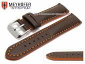 Watch strap Paracatu 17mm dark brown leather smooth orange stitching by MEYHOFER (width of buckle 16 mm)