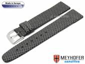 Watch strap Texarkana 20mm black/anthracite textile look VEGAN by MEYHOFER (width of buckle 18 mm)