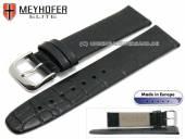 Watch strap Deltona 20mm black leather alligator grain by MEYHOFER (width of buckle 18 mm)