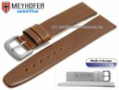 Watch strap 20mm Koper brown leather vegetable tanned smooth by MEYHOFER (width of buckle 18 mm)
