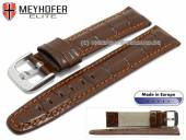Watch strap L (long) Lakeland 20mm brown leather alligator grain orange stitching by MEYHOFER (width of buckle 18 mm)