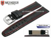 Watch strap Leesburg 19mm black leather alligator grain red stitching by MEYHOFER (width of buckle 18 mm)