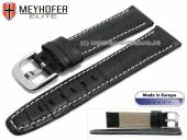 Watch strap Leesburg 19mm black leather alligator grain light stitching by MEYHOFER (width of buckle 18 mm)