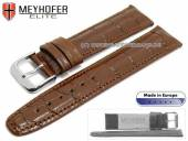 Watch strap Weston 19mm brown leather alligator grain stitched by MEYHOFER (width of buckle 18 mm)