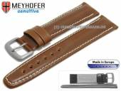 Watch strap 19mm Piran brown leather vegetable tanned light stitching by MEYHOFER (width of buckle 18 mm)