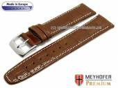 Watch strap S (short) Lauderhill 17mm brown leather alligator grain light stitching MEYHOFER (width of buckle 14 mm)