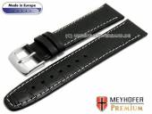 Watch strap Bradenton 20mm black leather alligator grain light stitching MEYHOFER (width of buckle 18 mm)