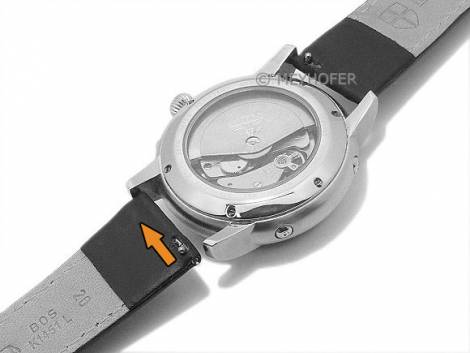 Meyhofer EASY-CLICK watch strap -Save- 24mm black synthetic leather like orange stitching (width of buckle 20 mm) - Bild vergrößern