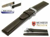 Watch strap L (long) Carpi 21mm dark brown grained light stitching with clasp by MEYHOFER (width of clasp 18 mm)