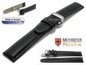 Watch strap L (long) Carpi 22mm black grained light stitching with clasp by MEYHOFER (width of clasp 20 mm)