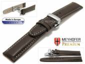 Watch strap Sanremo 19mm dark brown grained light stitching with clasp by MEYHOFER (width of clasp 18 mm)