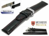 Watch strap Merano 22mm black alligator grain red stitching with clasp MEYHOFER (width of clasp 20 mm)
