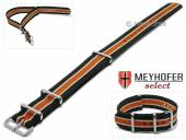 Watch strap Alabama 20mm black textile beige and orange stripes 3 metal loops one-piece strap NATO style MEYHOFER