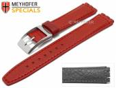 Watch strap Hanford 17mm red leather grained suitable for SWATCH by MEYHOFER (width of buckle 18 mm)