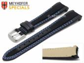 Watch strap Turlock 20mm black leather/cordura blue double stitching for Rolex by MEYHOFER