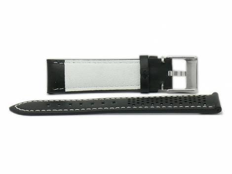 Watch strap -Batesville- 20mm black leather racing look light stitching by MEYHOFER (width of buckle 18 mm) - Bild vergrößern