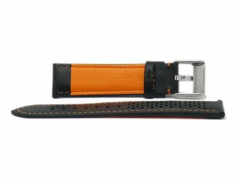 Watch strap -Batesville- 24mm black leather racing look orange stitching by MEYHOFER (width of buckle 22 mm) - Bild vergrößern