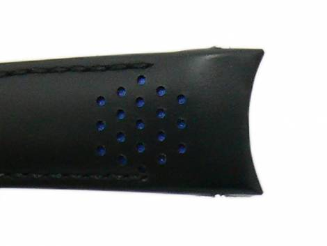 Watch strap -Challis- 20mm black leather for Rolex with curved ends blue racing holes by MEYHOFER - Bild vergrößern