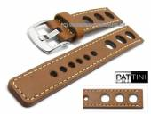 Watch strap 19mm light brown leather racing look robust matt light stitching by PATTINI (width of buckle 20 mm)