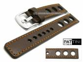Watch strap 19mm dark brown leather racing look robust matt orange stitching by PATTINI (width of buckle 20 mm)