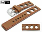Watch strap 24mm light brown leather racing look robust matt red stitching by PATTINI (width of buckle 24 mm)