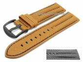 Watch strap 24mm light brown buffalo leather military-look black buckle (width of buckle 24 mm)