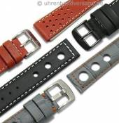 Racing style watch straps leather/ textile/synthetic in diverse designs