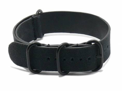 Watch strap -NATO Tallinn- 24mm black canvas/leather vintage look one piece strap by RIOS - Bild vergrößern
