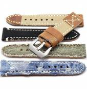 Rustic watch bands with vintage-look made of leather/textile diverse designs from the Rock!t Collection