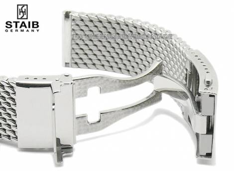 Watch strap 24mm short mesh polished robust structure with security clasp by STAIB - Bild vergrößern