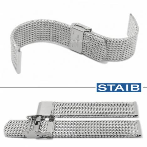 Watch strap 20mm mesh polished medium structure with groove embossing security slide clasp by STAIB - Bild vergrößern