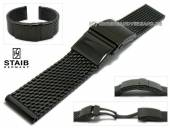 Watch strap 20mm short mesh black polished robust structure with security clasp by STAIB