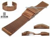 Watch strap 22mm mesh copper brown polished robust structure with security clasp by STAIB
